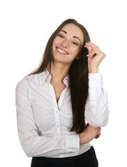 fröhliche Geschäftsfrau