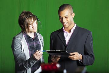 Presenter and Floor manager in TV Studio