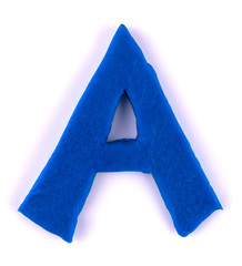Plasticine blue letter A