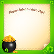 Pot of leprechauns gold with lucky clovers greeting card