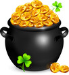 Black pot of leprechauns gold with lucky clovers