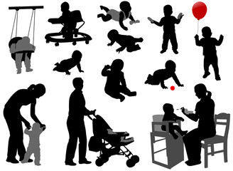 babies and toddlers silhouettes