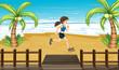 An athlete jogging at the seashore