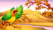 A green parrot in an autumn scenery