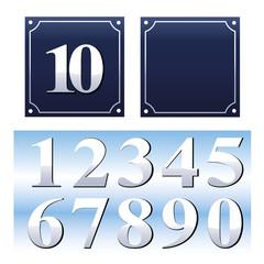 Emaille Hausnummernschilder Set mit Zahlen