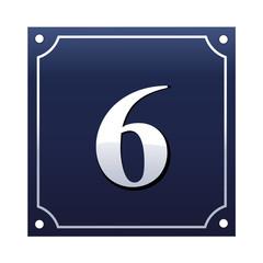 Emaille Hausnummernschild 6