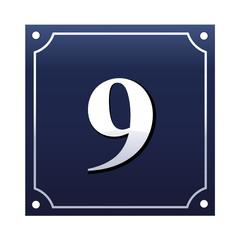 Emaille Hausnummernschild 9