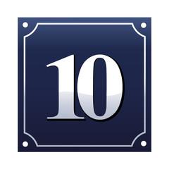 Emaille Hausnummernschild 10
