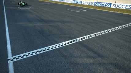 formula one racecars crossing finishing line - static cam