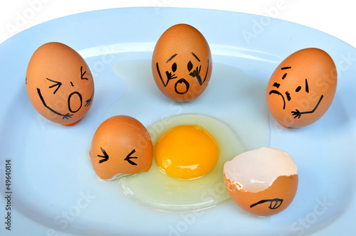 Funny easter eggs with drawn faces depicting various emotions