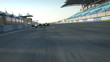 formula one racecars crossing finishing line - rear cam POV