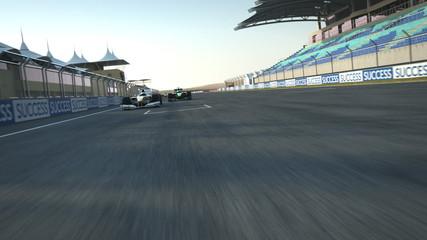 formula one racecars crossing finishing line - rear cam POV