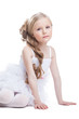 Beautiful girl in white dress posing  isolated