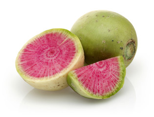 Radish with a pink middle, whole and half