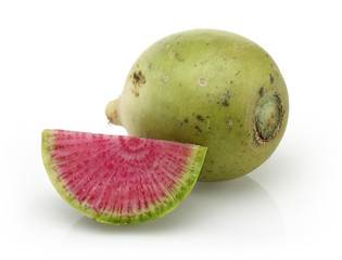 Radish with a pink middle, whole and quarter