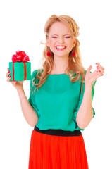 woman holds a gift box