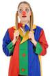 Junge Frau in Clown-Kostüm