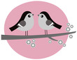 Retro Birds couple in love on pink background
