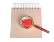 magnifying glass,red hearts and sticky note