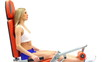 Attractive blonde exercising on trainer