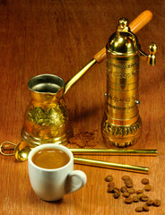 traditional set for arabic and greek coffee