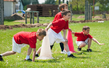 kids have football training outside