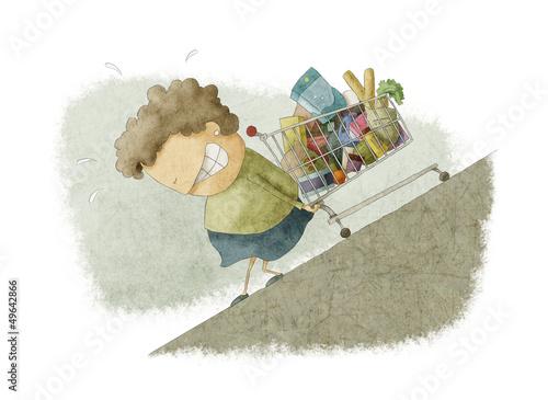 woman pushing a shopping cart up - 49642866