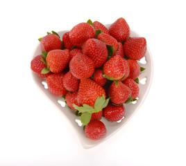 Strawberries in white bowl