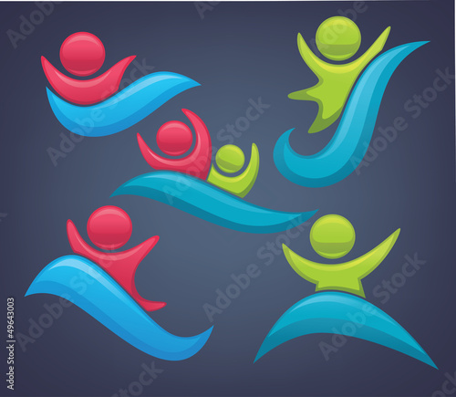 vector collection of aqua games and swimming symbols