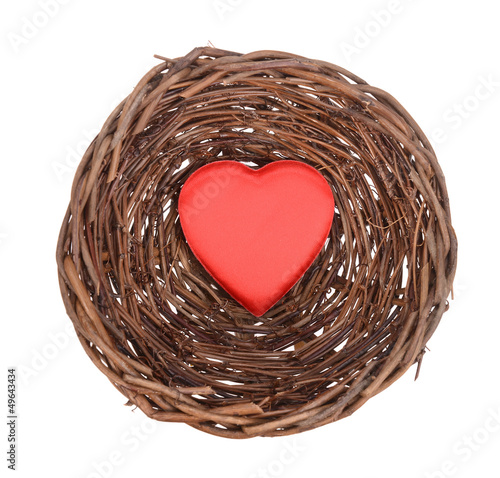 nest with red heart and egg