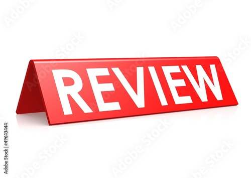 Review tag in red