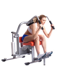 Blonde woman on isodynamic exerciser