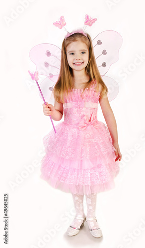 Little girl in fairy costume on a white