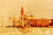 Quadro nostalgisch texturiertes Bild der Toteninsel vor Venedig