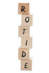 Editor Written Backwards With Wooden Blocks.
