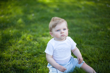 Beautiful baby boy on green grass in summer