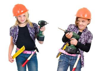Mädchen auf der Baustelle freigestellt