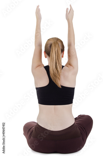 Sitting woman doing stretching