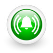 alarm green circle glossy web icon on white background