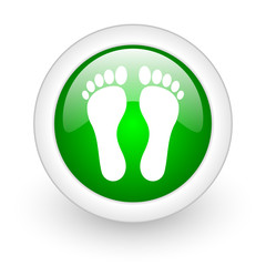 footprint green circle glossy web icon on white background
