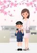 入学式 桜 親子 小学校 ランドセル イラスト 母 息子