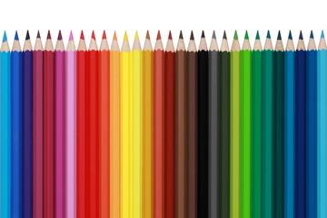 Buntstifte in einer Reihe, isoliert