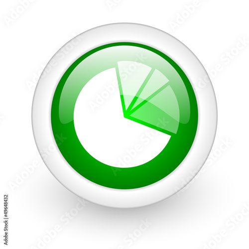 diagram green circle glossy web icon on white background
