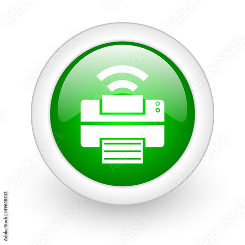 print green circle glossy web icon on white background