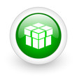box green circle glossy web icon on white background