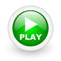 play green circle glossy web icon on white background