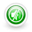 mute green circle glossy web icon on white background