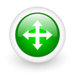 arrows green circle glossy web icon on white background