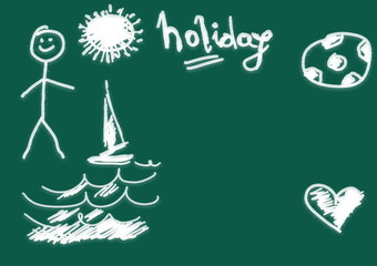 holiday, green chalkboard background