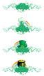 borders of clover, pot,  horseshoe, hat, green beer